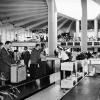 Pan Am press photo showing the spacious, airy interior of the original terminal.